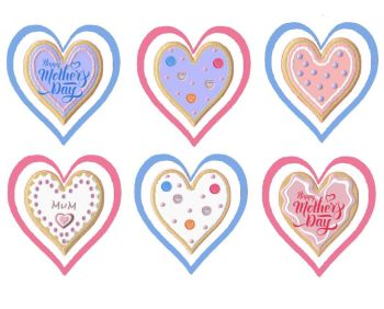 Mother's Day Cookies Heart Shaped Card Making Toppers