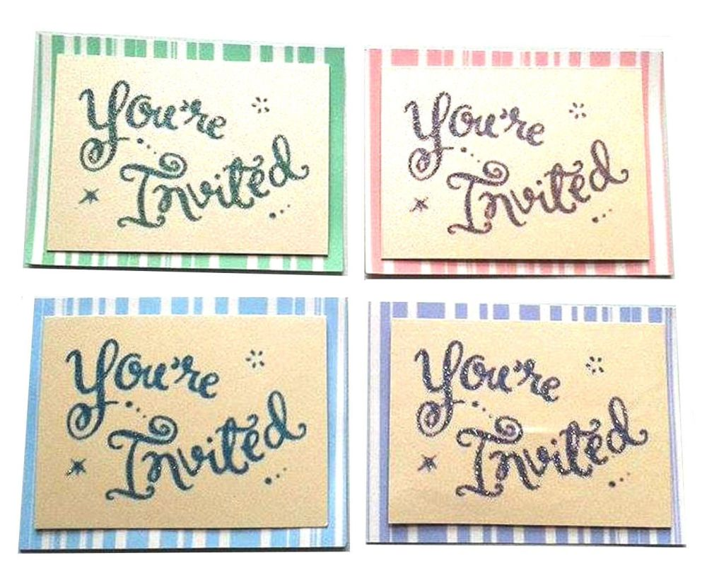 You're Invited Glittered Card Toppers x 4