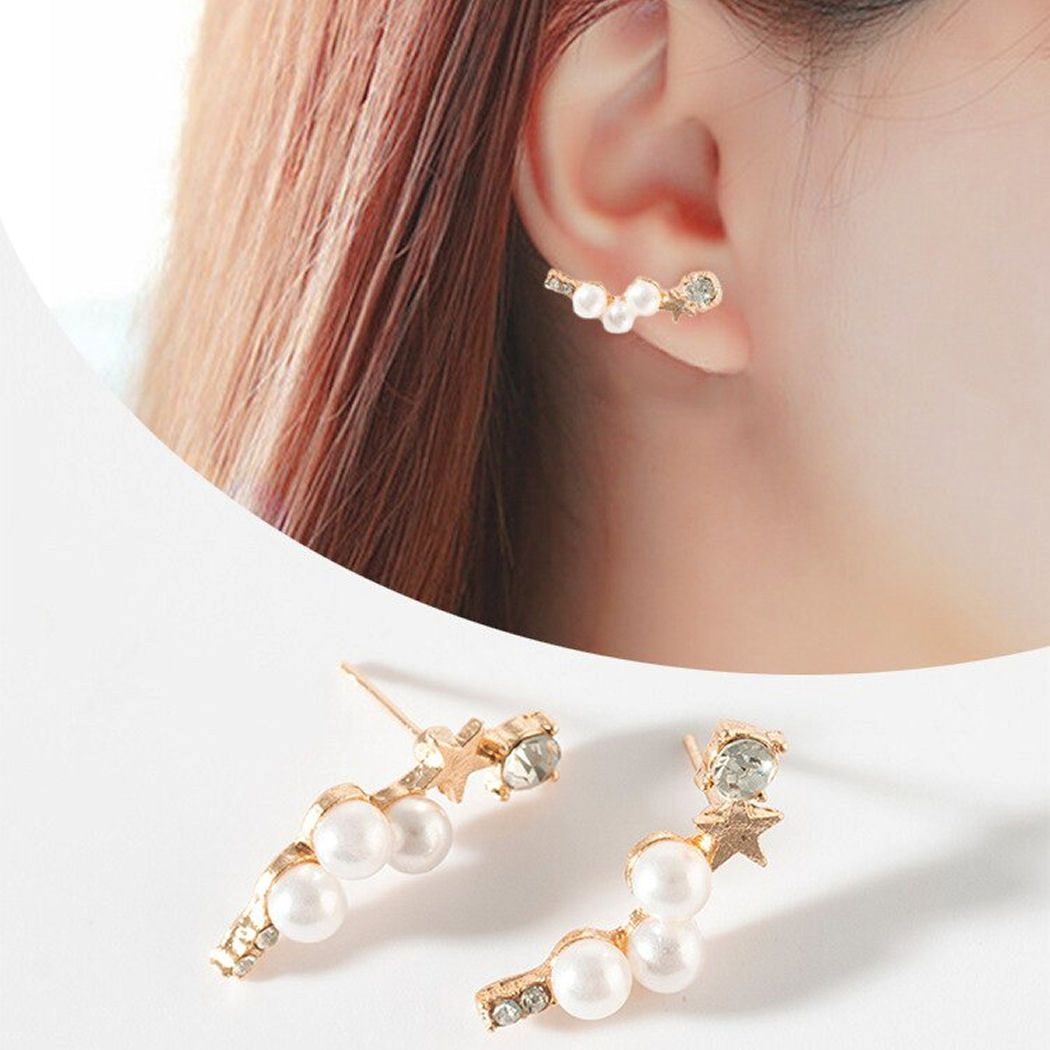 Pearl Gold Cuff Style Earrings