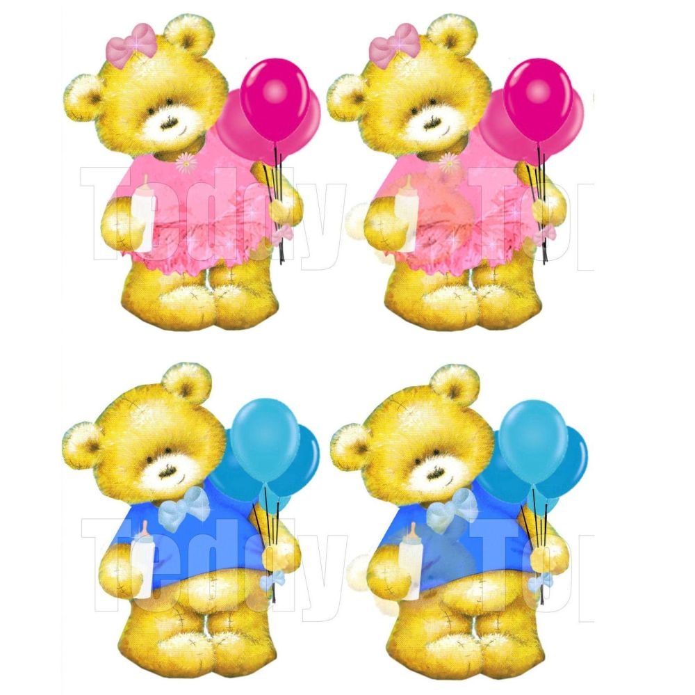 It's a Boy and It's a Girl Teddy Bear Toppers x 4