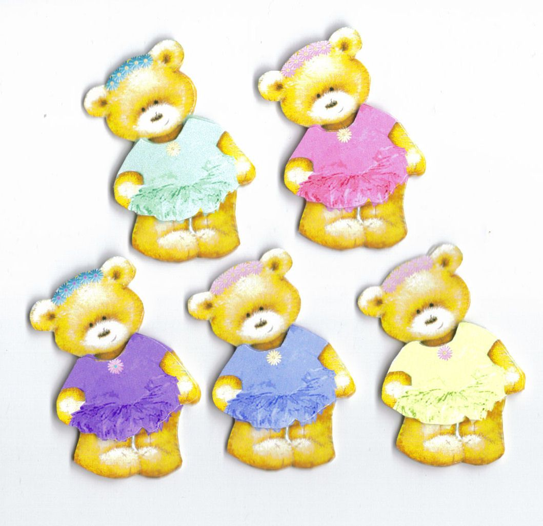 Ballet Teddy Bear Card Toppers x 5