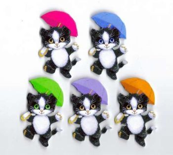 Cats with Umbrellas Card Toppers