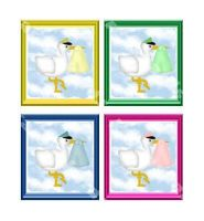 Stork Baby Card Topper Embellishments x 4