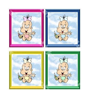 New Baby Card Topper Embellishments x 4