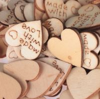 Love Hearts Natural Wooden Embellishments x 10