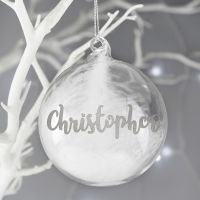 Personalised Silver Glitter Name Feather Glass Bauble
