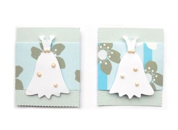 Blue and White Card Making Toppers - White Dress