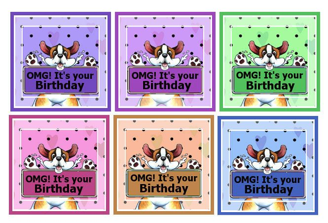 OMG! Birthday Card Making Craft Toppers x 6