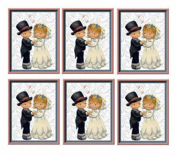 Bride and Groom Vintage Card Making  Toppers x 6