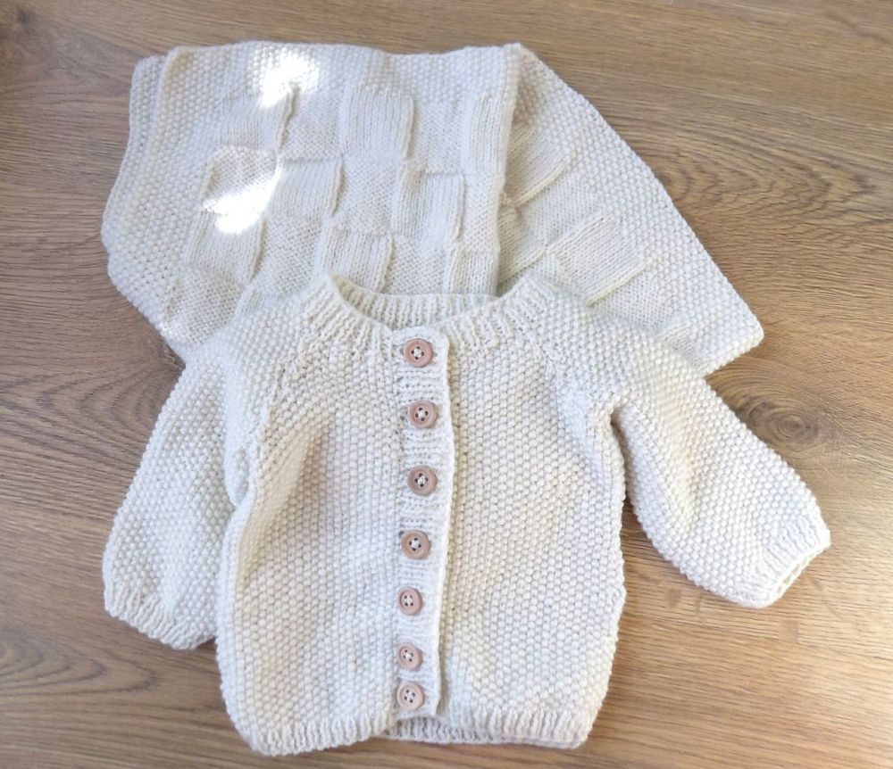 Cream Baby Boy Knitted Cardigan and Pram Blanket