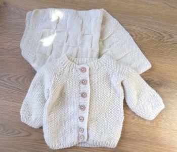Cream Baby Boy Knitted Cardigan and Pram Blanket
