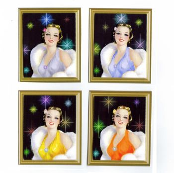 Glamorous Holywood Ladies Card Making Toppers x 4