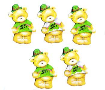 Good Luck Rainbow Teddy Bear Card Toppers