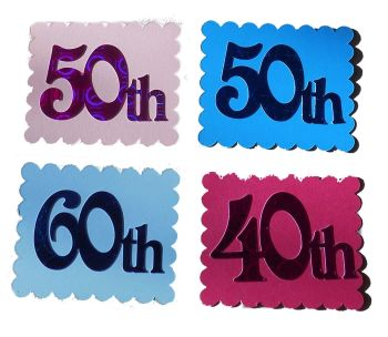 Number Card Making Toppers in a Pink and Blue Theme x 4