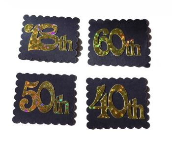 Number Card Making Toppers in a Black and GoldTheme x 4