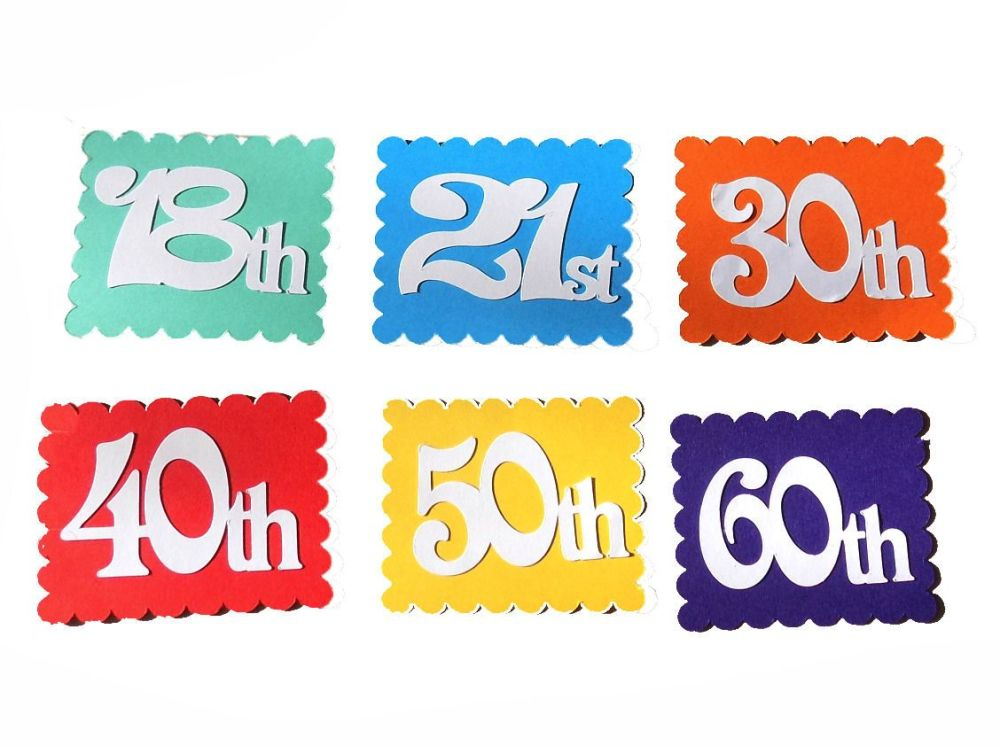 Number Card Making Toppers in a Colourful Theme x 6