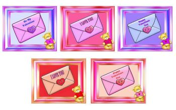 Valetines Greetings - Teddy Topper and Envelope Theme x 10