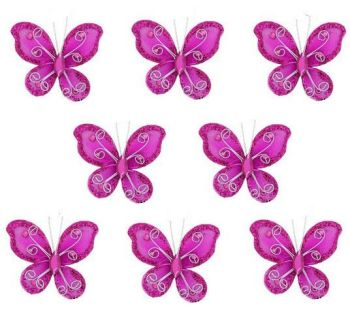 Pink Organza Butterfly Embellishments x 8