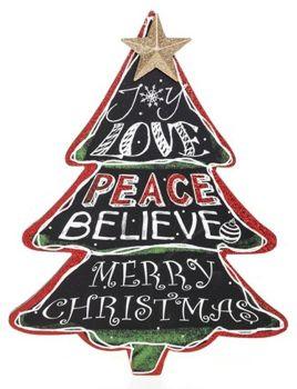 Large Chalkboard Christmas Tree Plaque - Joy