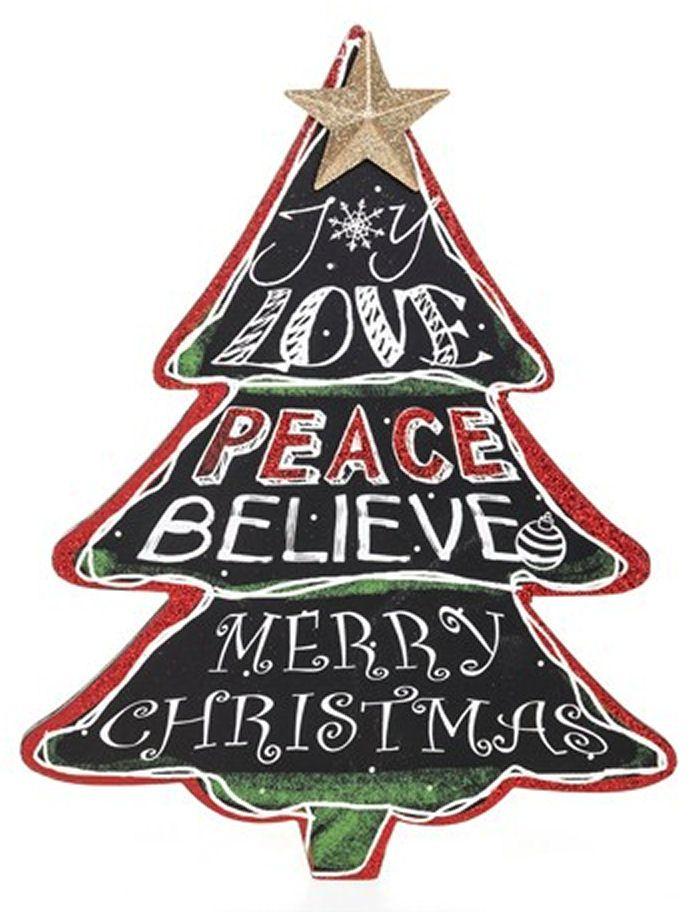 Christmas Plaque Large Chalkboard Tree Shape, Joy