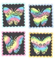 Butterfly Rainbow Swirl Card Making Topper Embellishments x 4