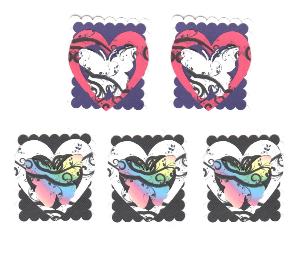 Butterfly Card Making Topper Embellishments x 5