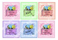 Mother's Day Cute Bee Card Making Toppers x 6