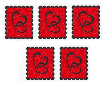 Red and Black Heart Card Making Toppers