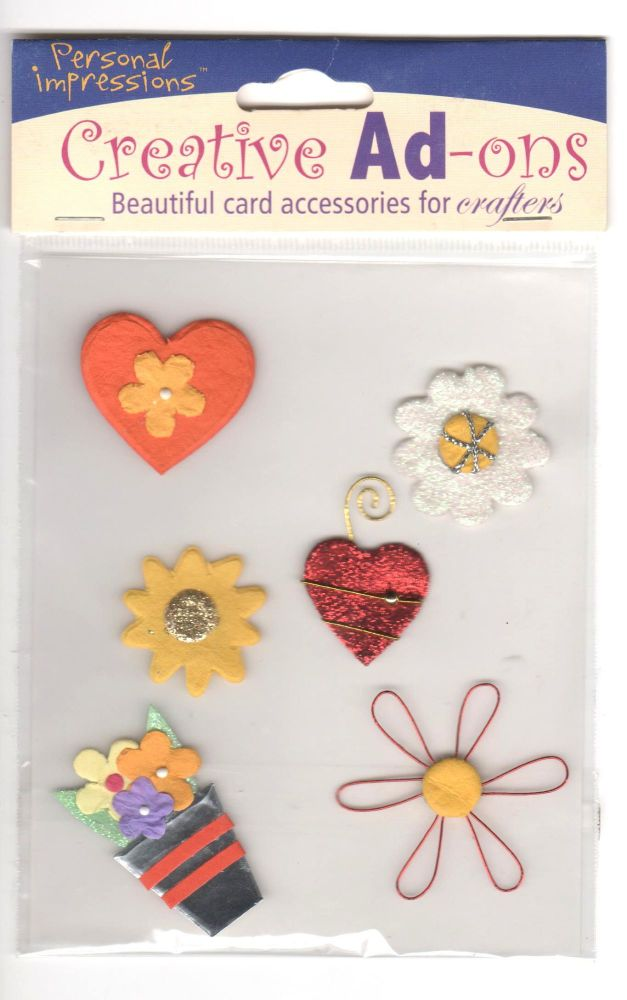 Creative Ad-ons Garden Themed Hearts and Flowers Embellishments