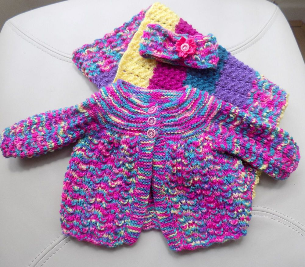 Baby Knitted Coat, Headband and Pram Size Blanket Matinee Set - Mermaid Pin