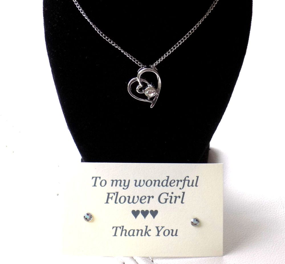 Flower Girl Gift - Crystal Gem Pendant Necklace