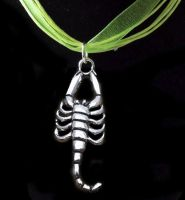 Scorpion Pendant Necklace - Pretty Green Ribbon Necklace