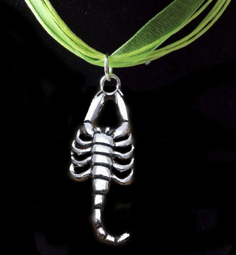 Scorpian Pendant Necklace - Pretty Green Ribbon Necklace
