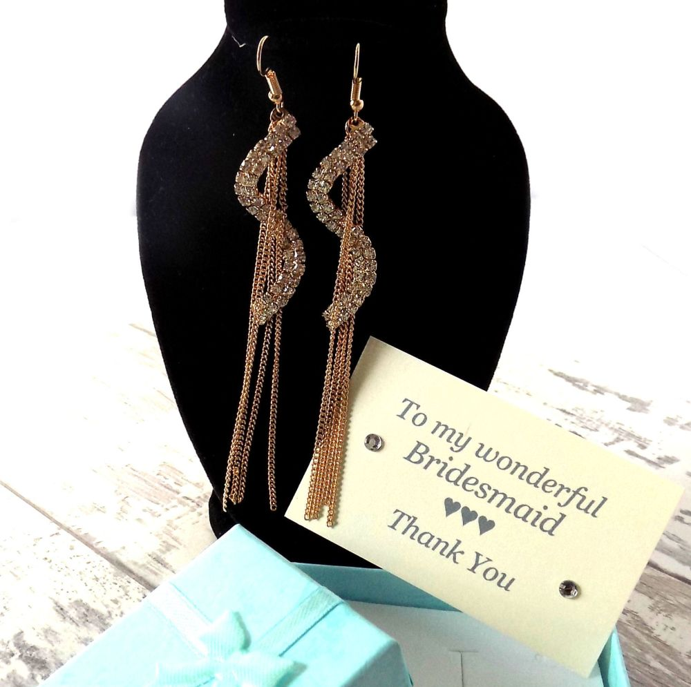 Thank you Bridesmaid Gold Drop Earrings