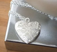 Silver Heart Locket Style Necklace - Handcrafted