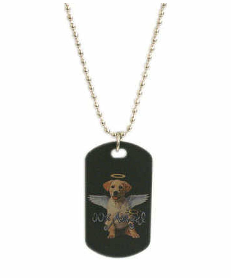 Angel Dog Design Dog Tag Pendant Necklace