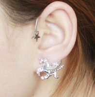 Unicorn Cuff Earring in Silver