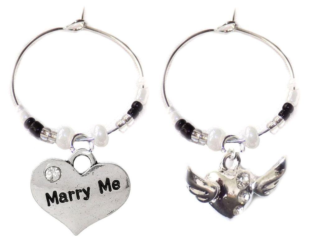 Marry Me Wine Glass Charms x 2
