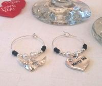 Marry Me Wine Glass Charms x 2