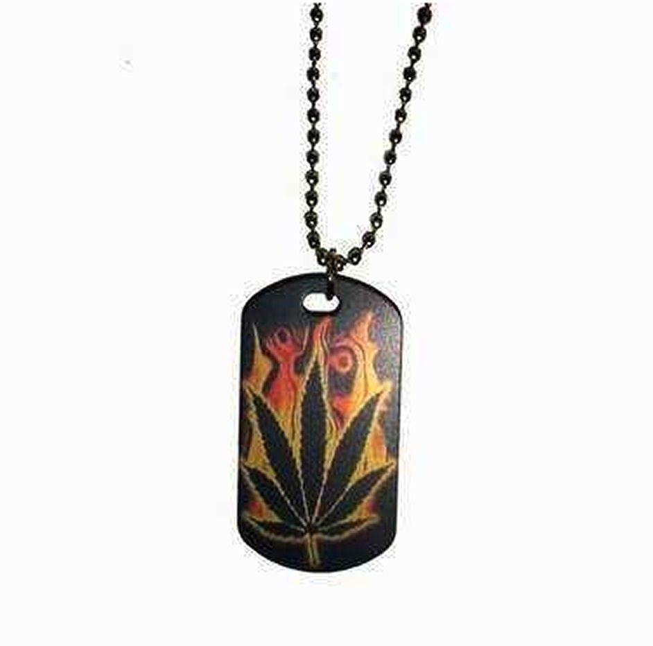 Mens Dog Tag Necklace - Flaming Leaf Design