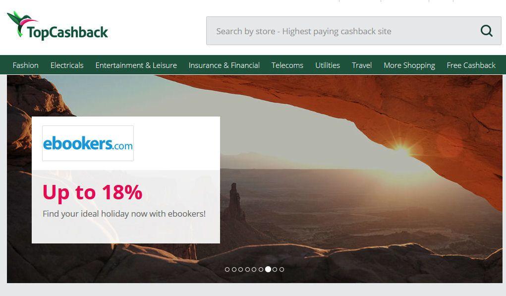 Topcashback homepage