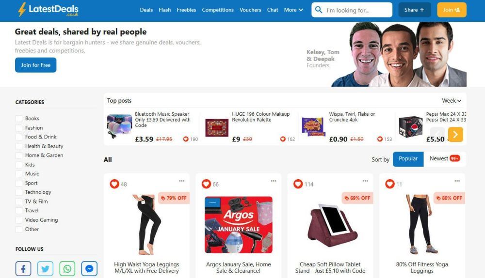 latestdeals uk homepage