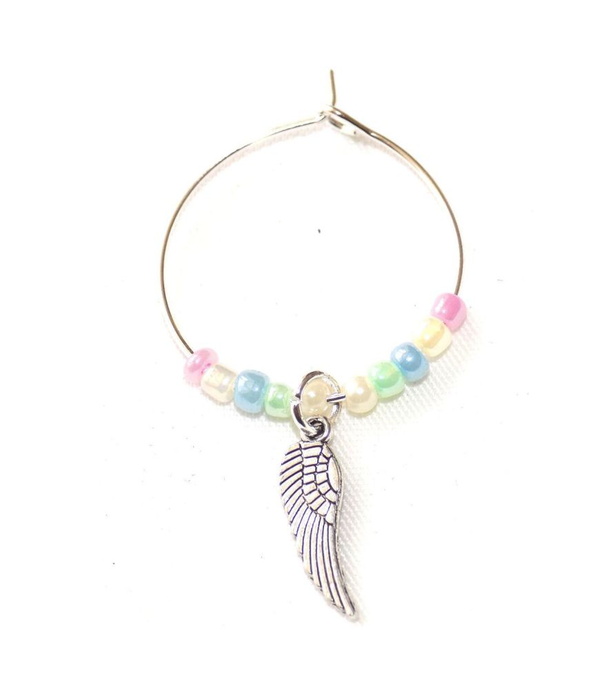 Guardian Angel Wing Wine Charm