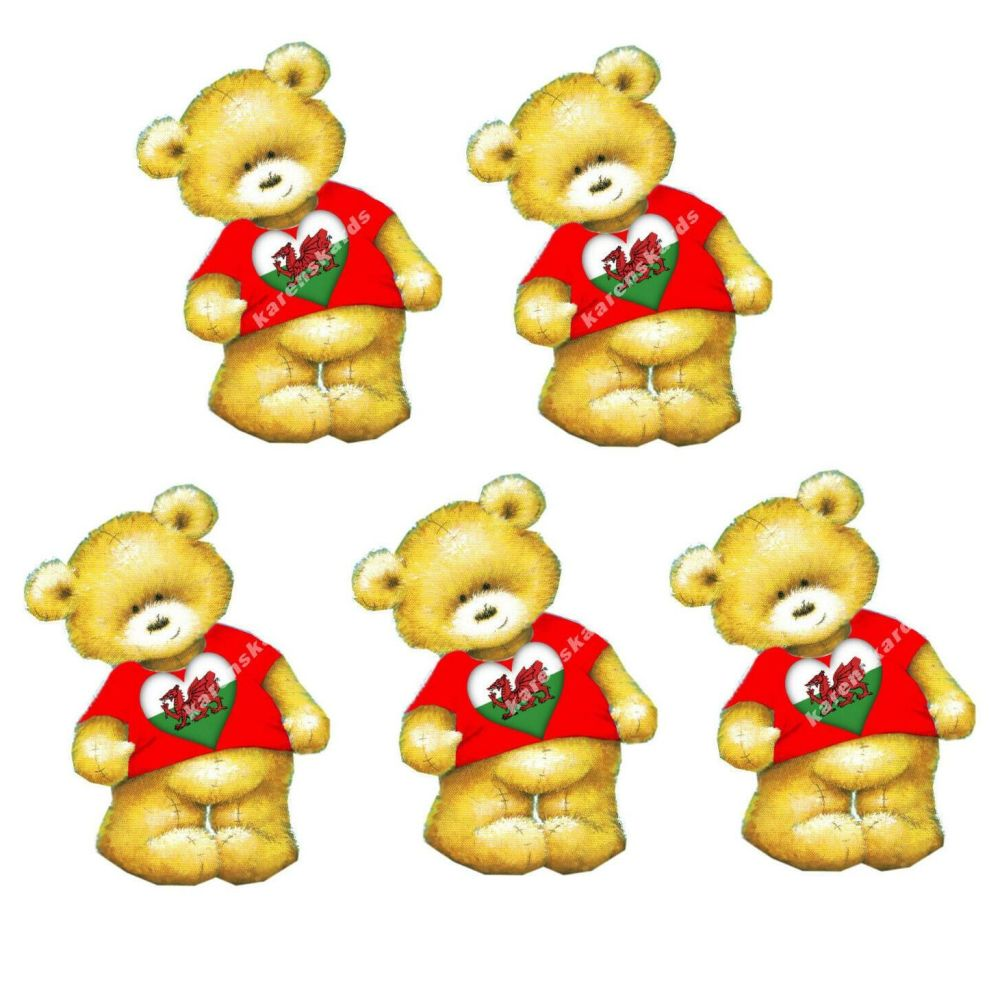 Welsh Teddy Bear Card Toppers