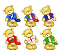 Six Nations Rugby Teddy Bear Card Toppers