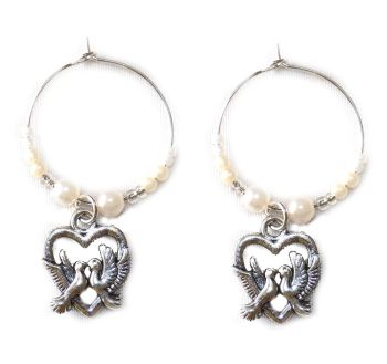 Wedding doves wine charms x 2