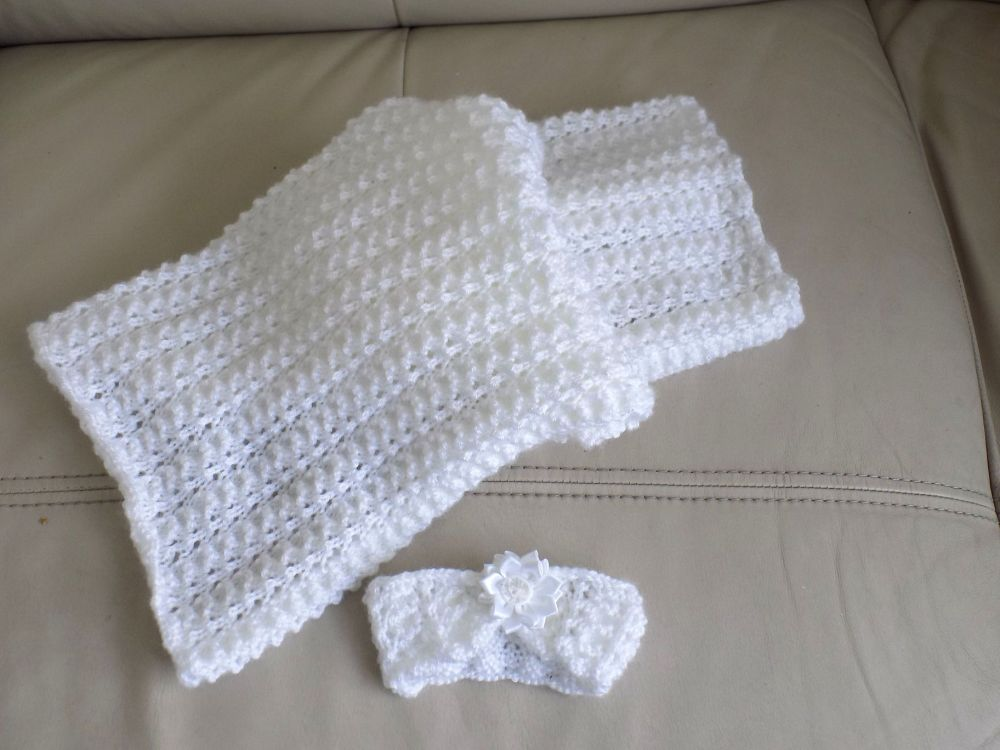 White Handcrafted Knitted Summer Pram Blanket and Matching Headband
