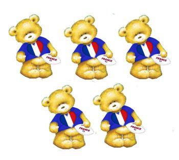 French Rugby Teddy Bear Card Toppers