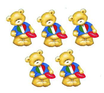 Italian Rugby Teddy Bear Card Toppers