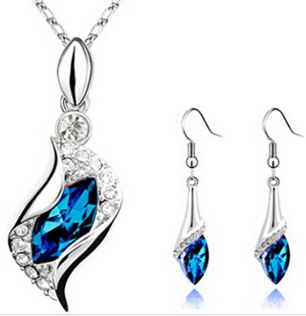 Royal Blue and Silver Gemstone Necklace and Earring Set